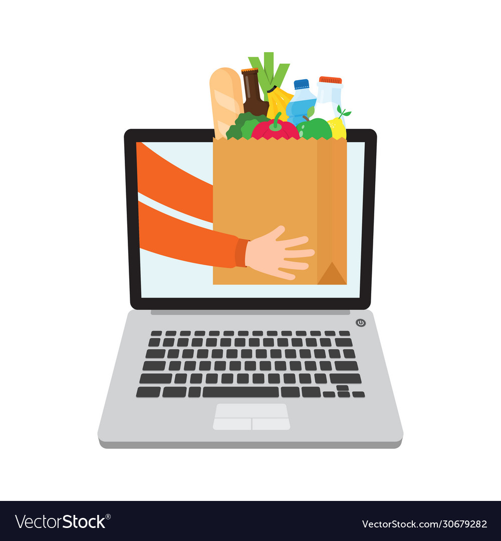 Paper bag full products grocery delivery