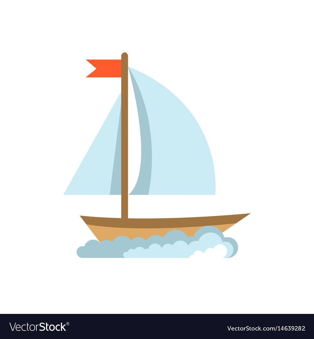 Sailing yacht flat icon boat isolated on white