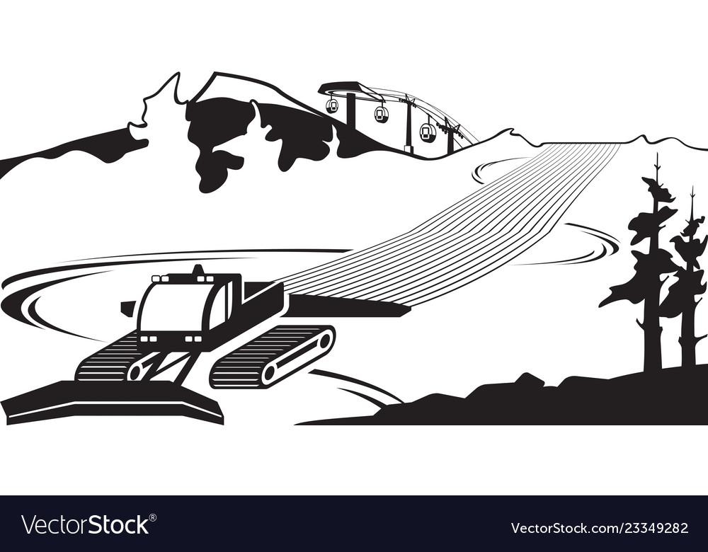 Snow plow clears slots on ski slope