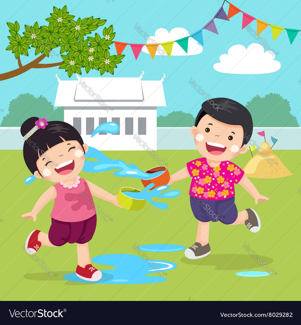 Thai kids splashing water in Songkran festival at vector image