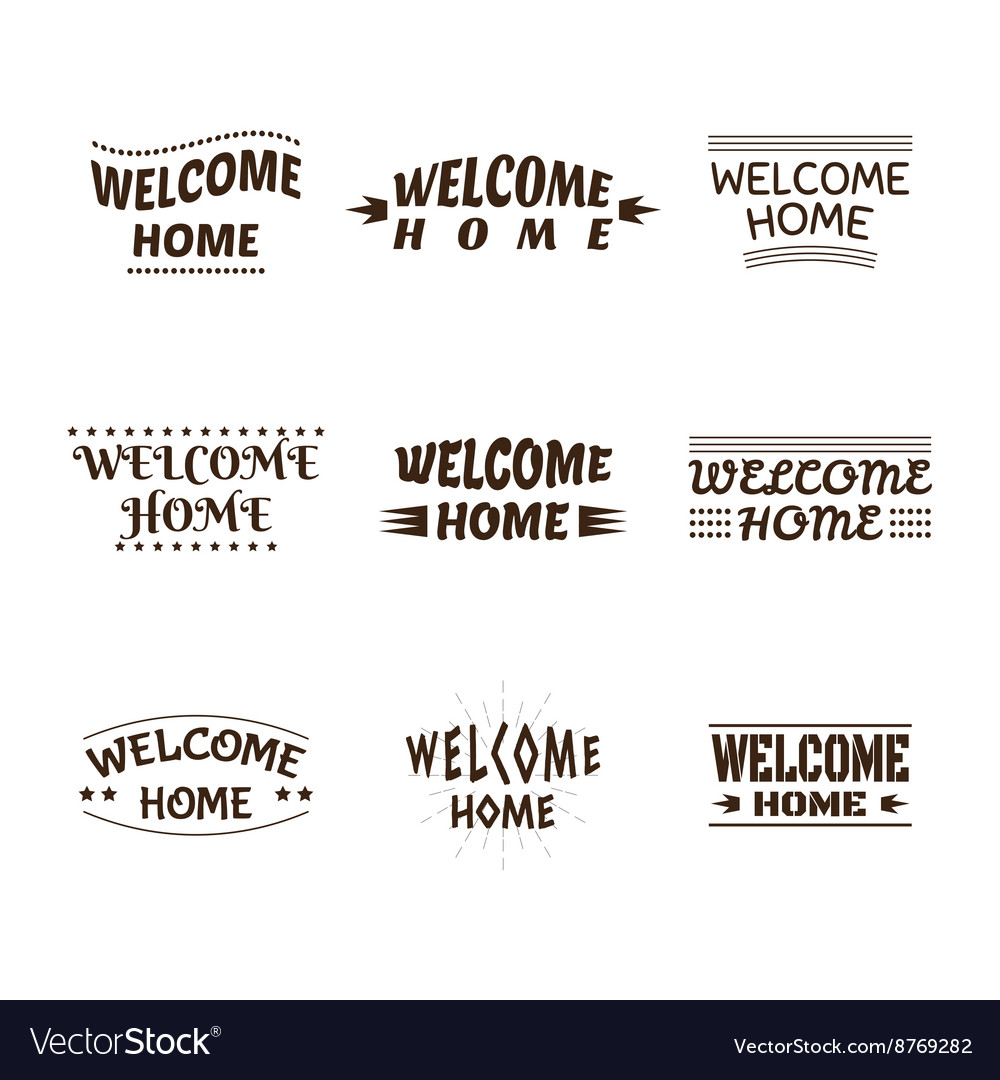 Welcome home design collection Set of 9 labels Vector Image