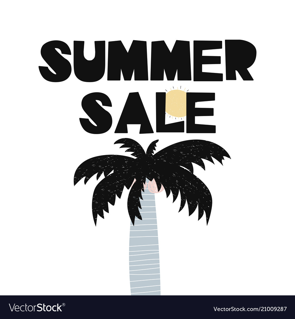 Card with lettering summer sale and palm in