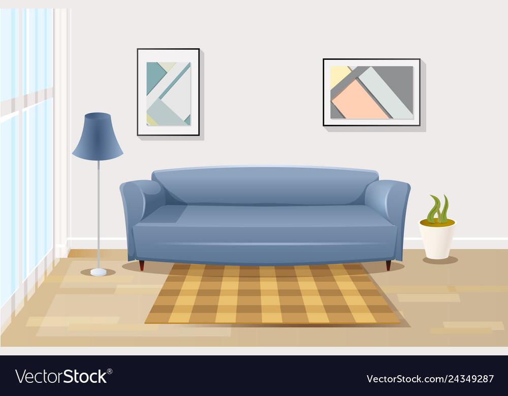 Comfortable sofa in living room cartoon