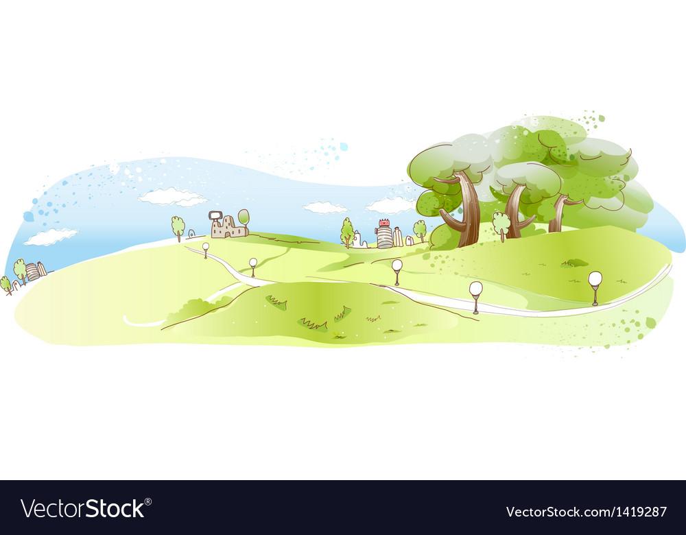 Cute Landscape Background Vector Art Download Vectors