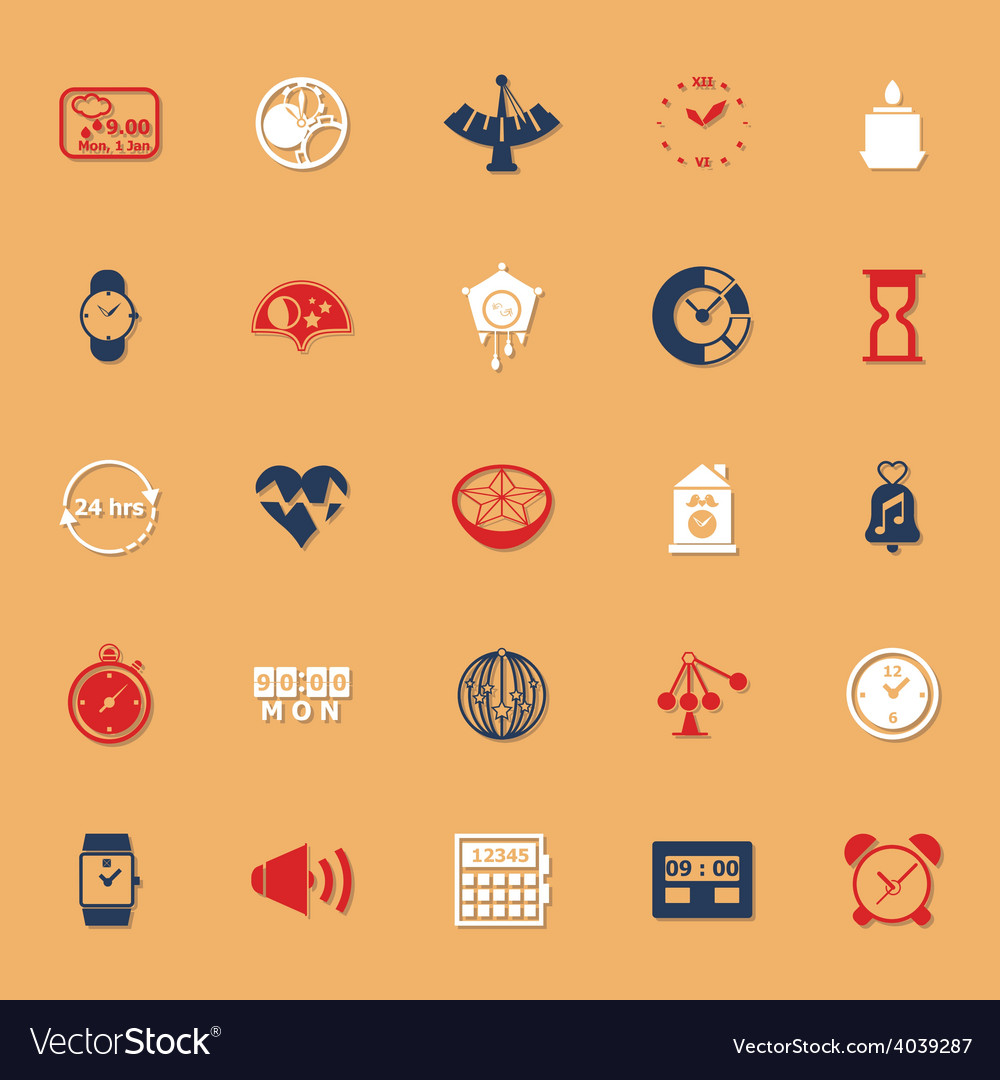 Design time classic color icons with shadow vector image