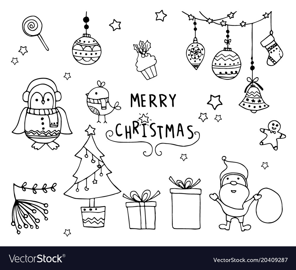 Hand drawn of design christmas elements