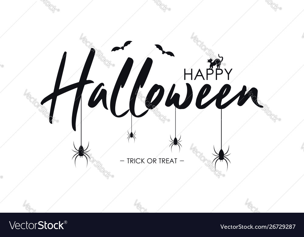 Happy halloween text banner with bat spider and