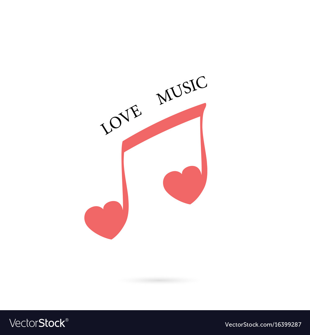 Musical note sign and red heart icon logo design vector image