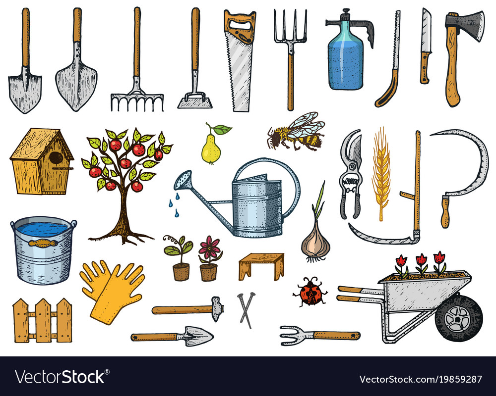 . Set of gardening tools or items hose reel fork