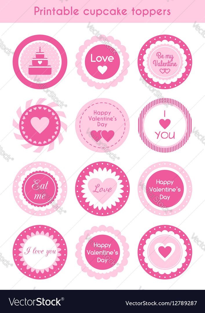 graphic about Printable Cupcakes Toppers identified as Fixed of printable cupcake toppers Valentines working day