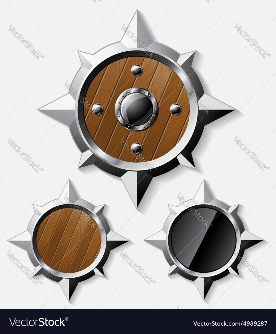 Shields from steel and wood isolated on grey