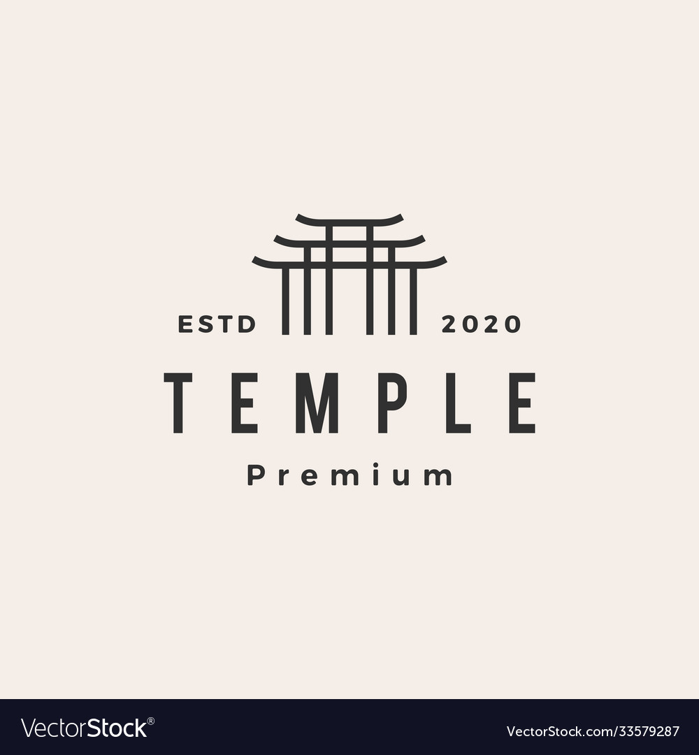 Temple hipster vintage logo icon
