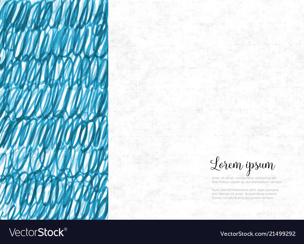 Abstract hand drawn blue background with place for
