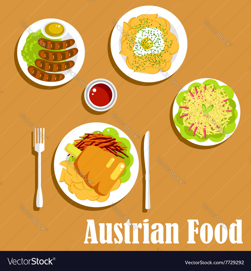 Austrian cuisine dinner dishes and salad