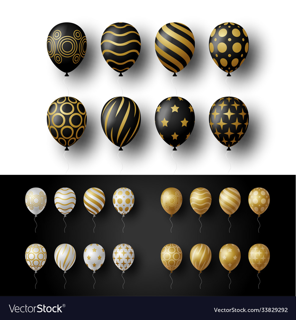 Balloon set isolated on white and black