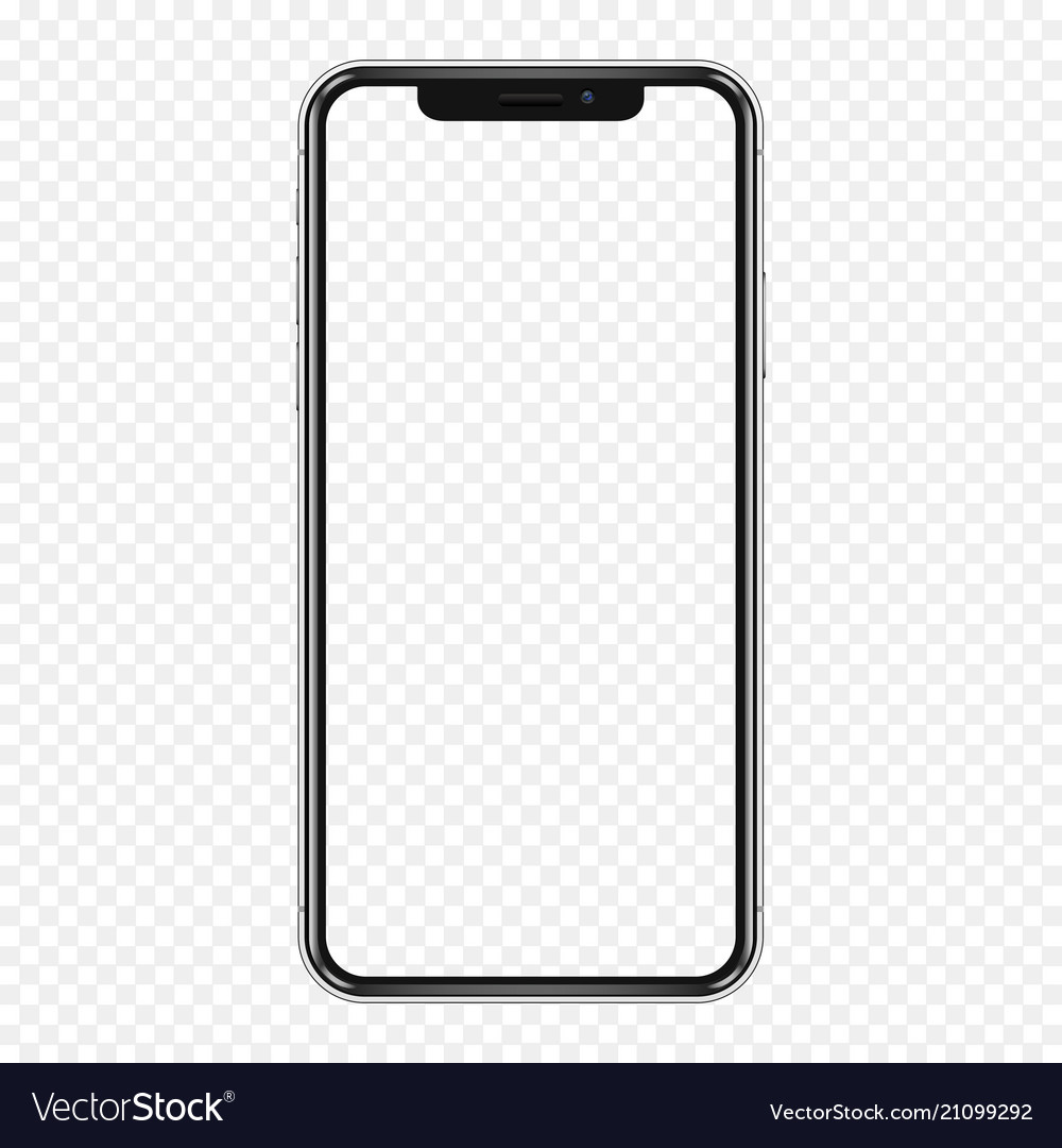Black phone mock up with transparent screen