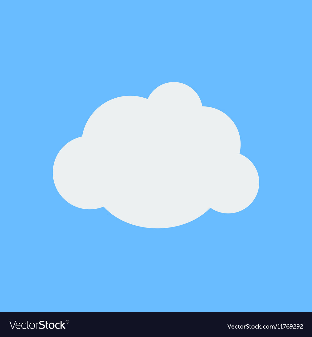 Flat white cloud weather icon on cyan background vector image