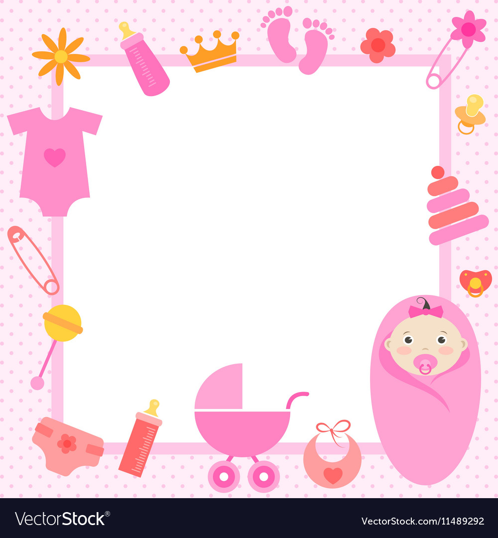 Pink frame with baby girl elements Royalty Free Vector Image