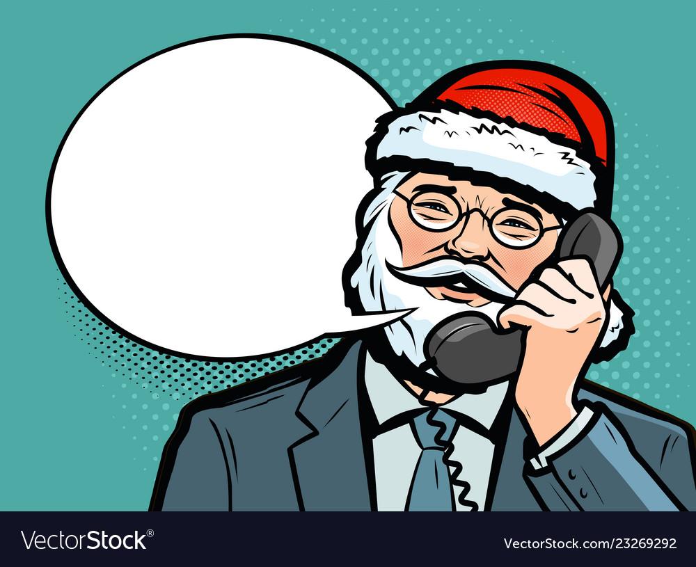 Santa claus talking on the phone christmas