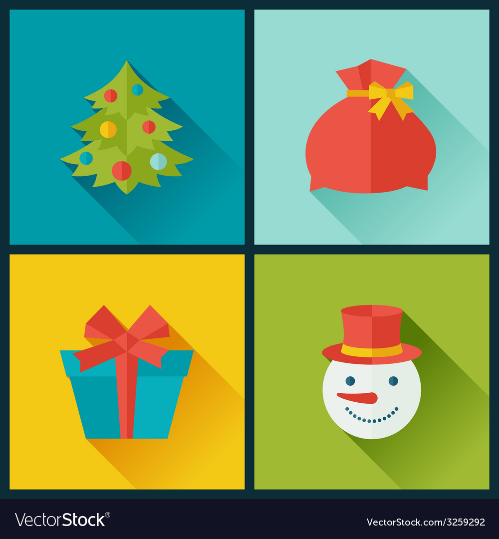 Set of Merry Christmas and Happy New Year icons