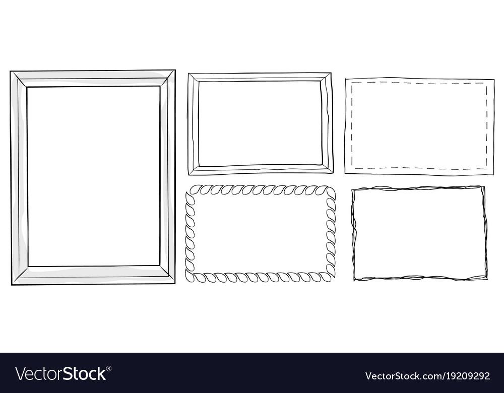 Set of vintage ornamental frames hand drawn doodle
