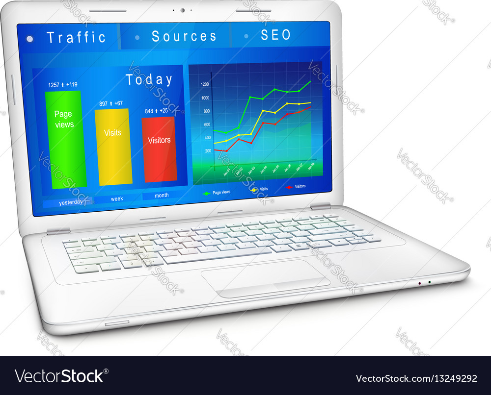 Website traffic analysis on laptop screen