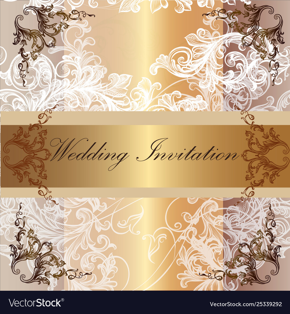 Wedding Invitation Card In Pastel And Golden Tape