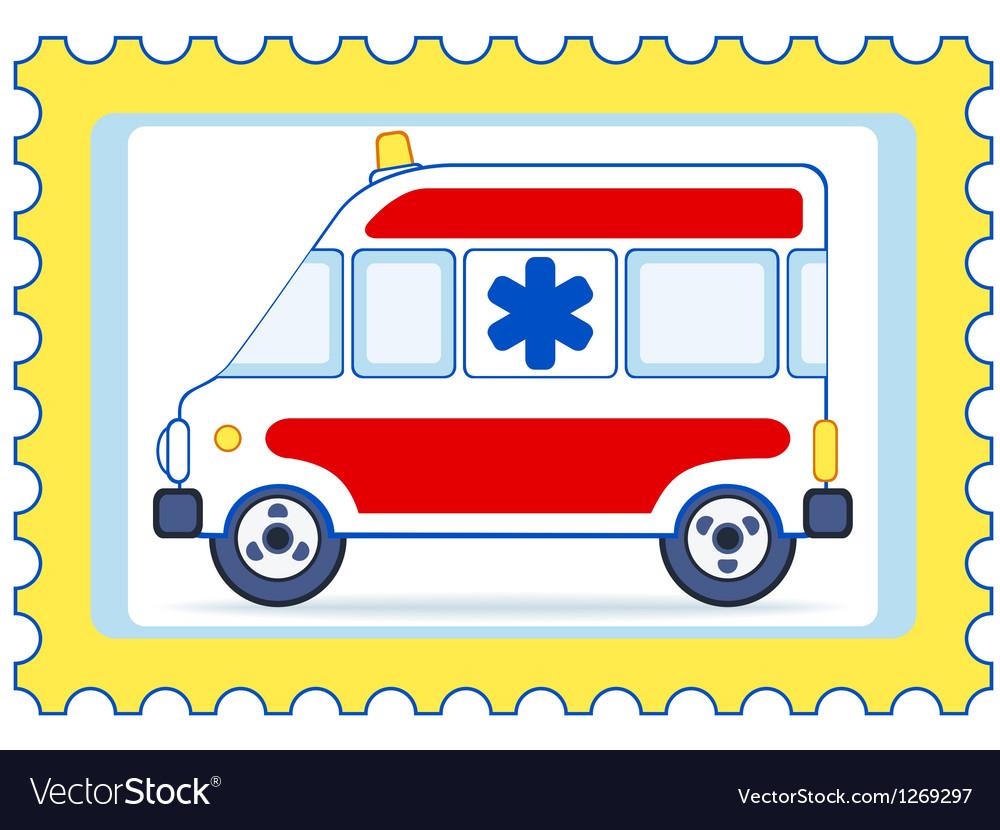 Ambulance postage stamp vector image