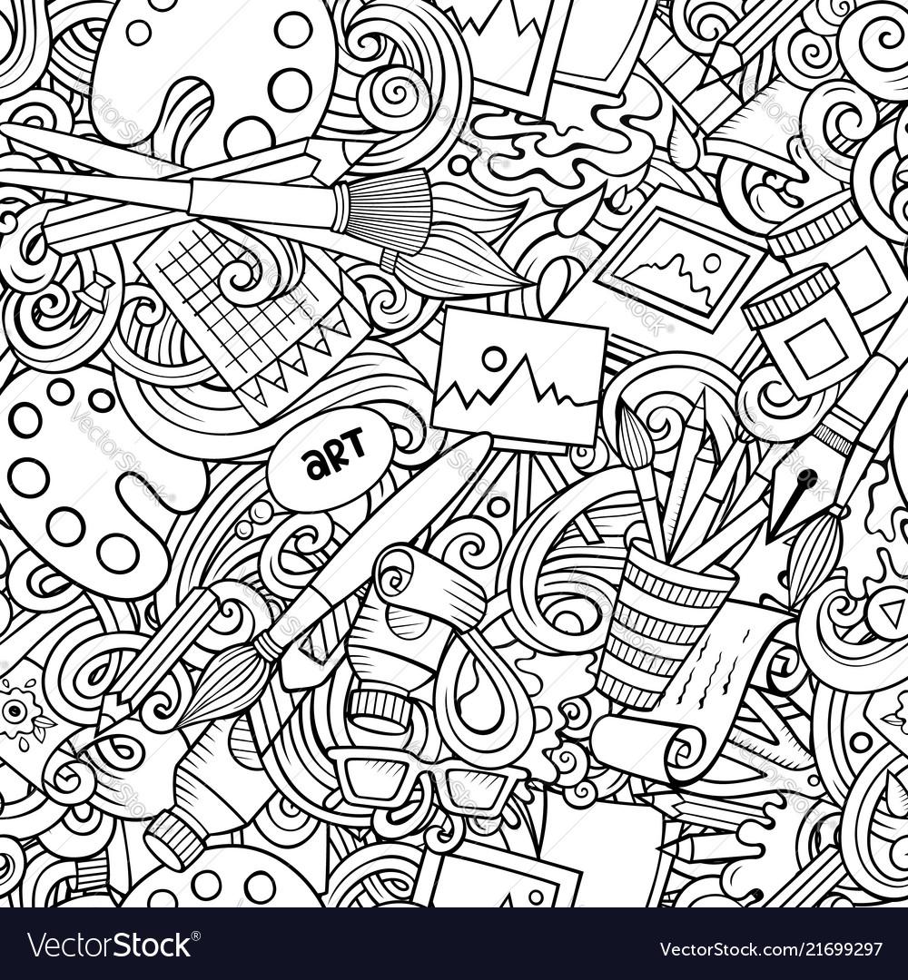 Cartoon cute doodles hand drawn artist seamless