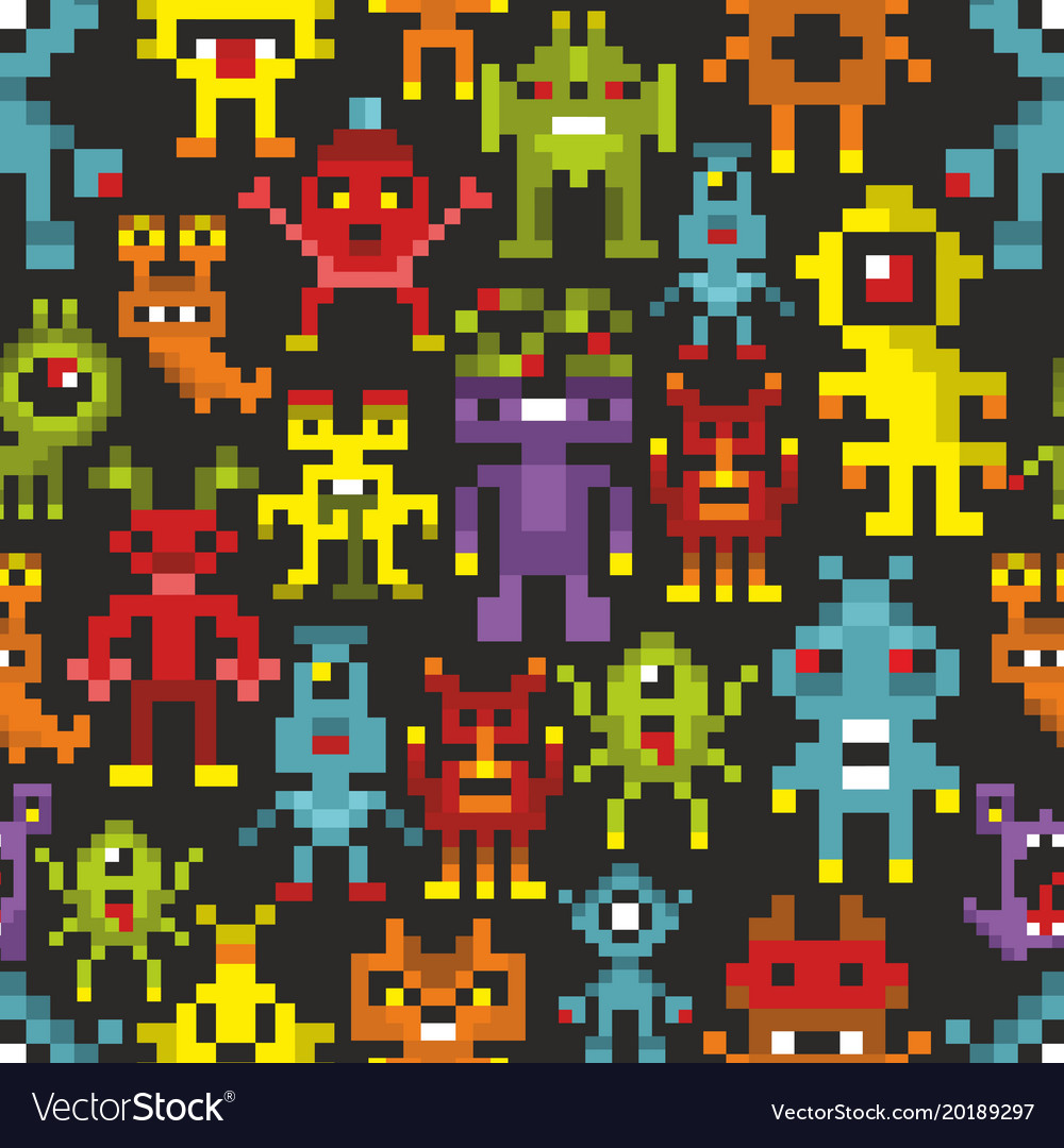 newest collection 67b7a 1aa23 Cover print with pixel monsters