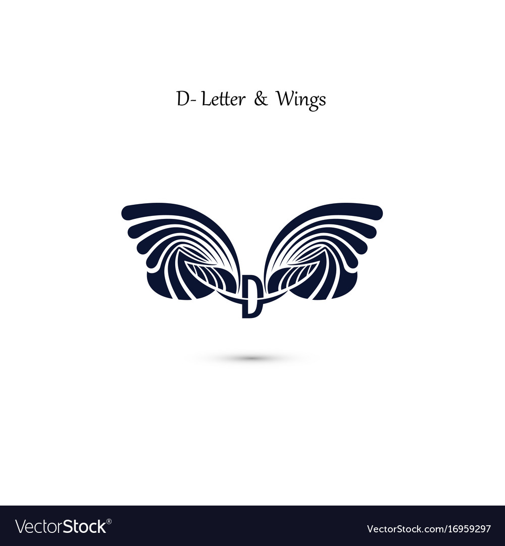 D letter sign and angel wings monogram wing logo