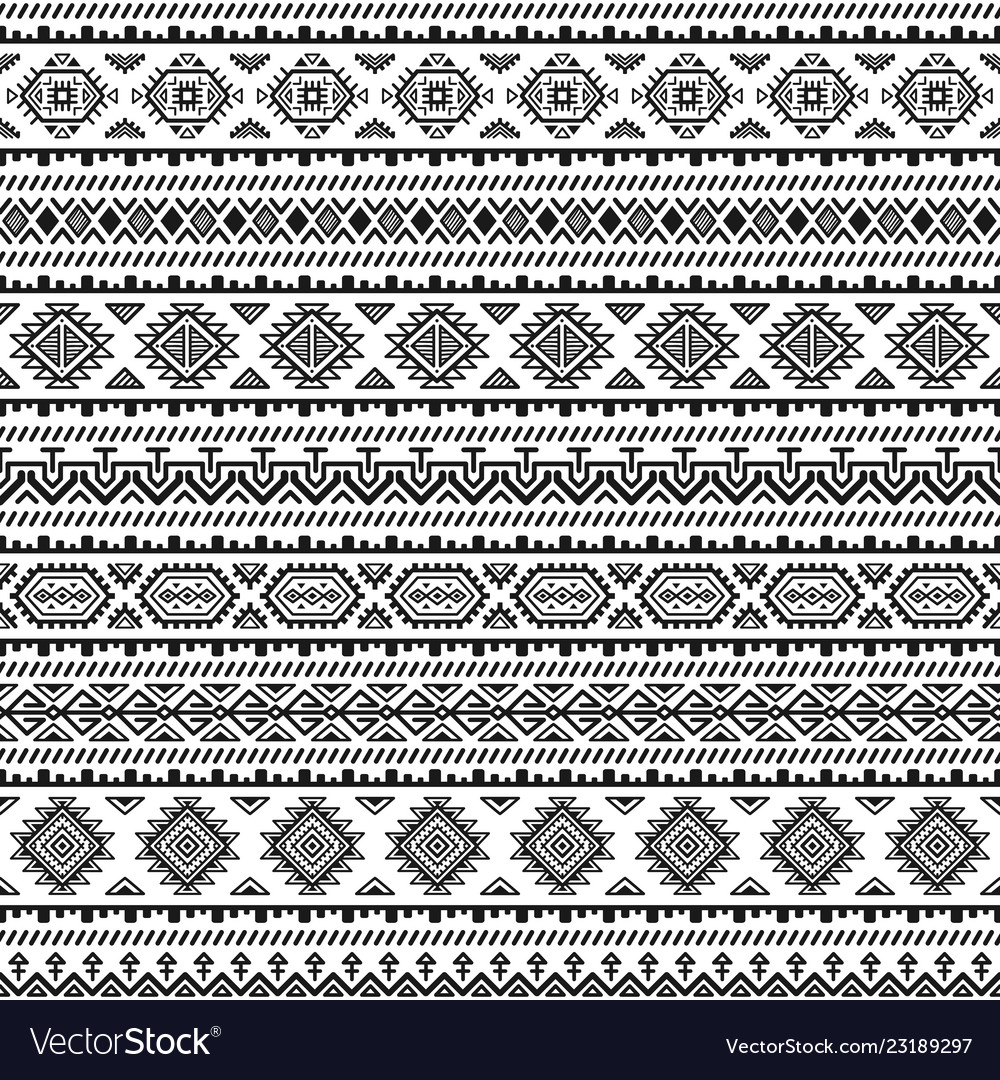 Ethnic seamless monochrome pattern