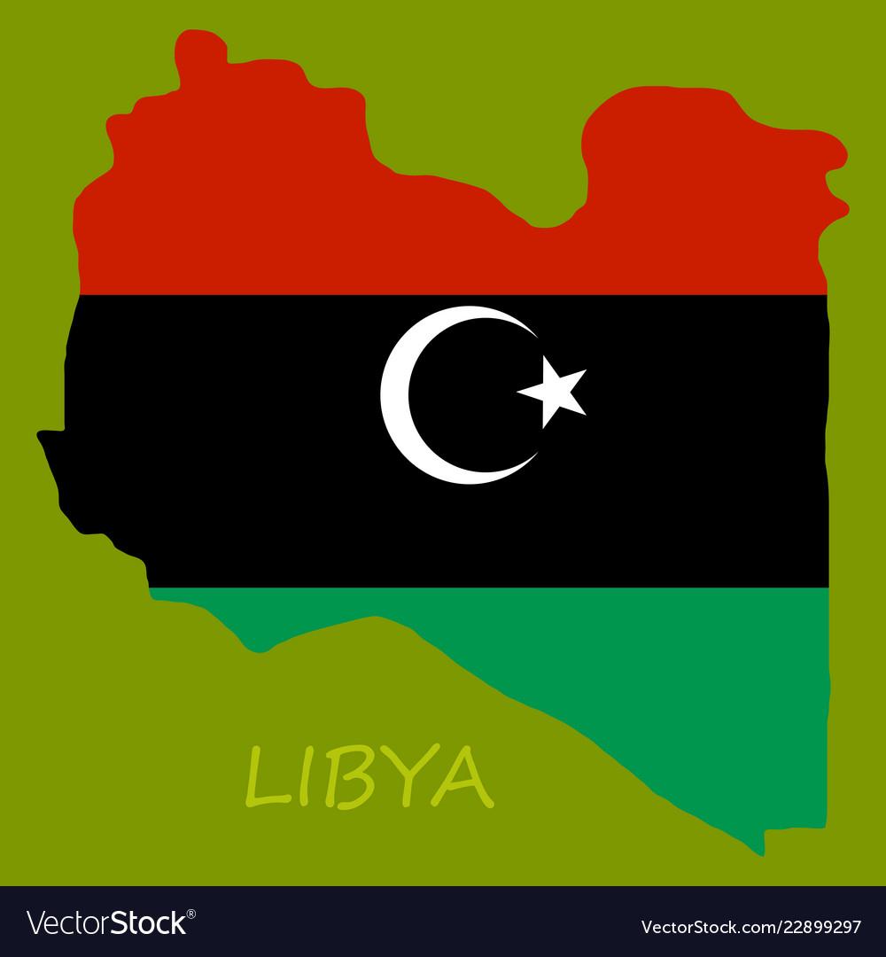 Flag map of libya