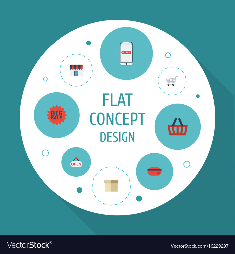 Flat icons purchase big sale case and other vector image