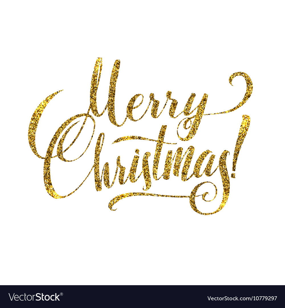 Gold Merry Christmas Card Golden Shiny Glitter