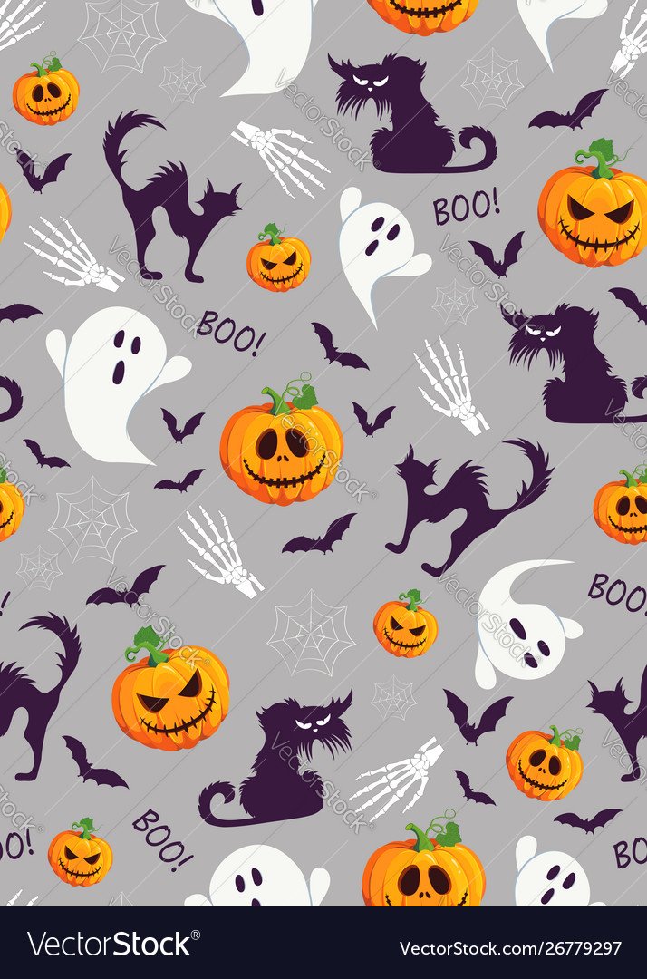 Halloween pumpkin and ghost seamless pattern on