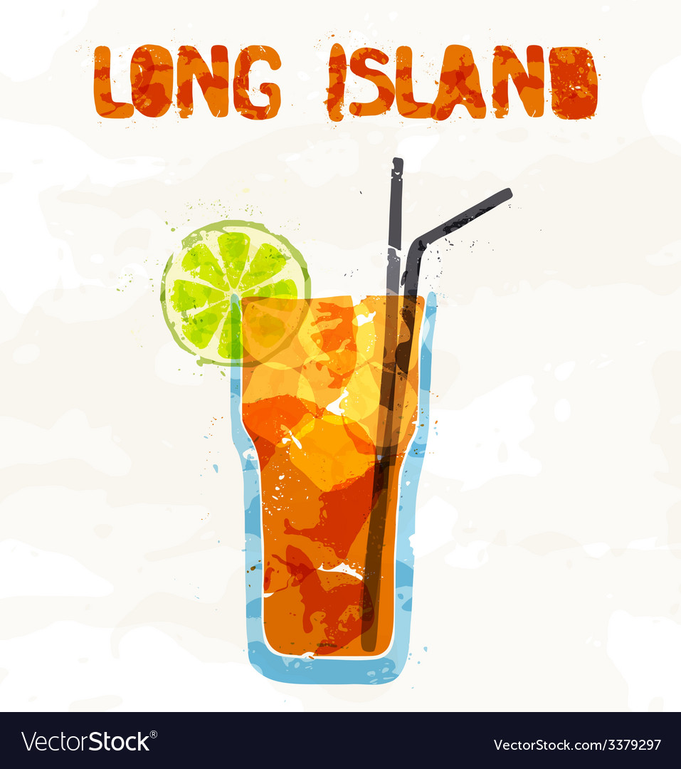 Long island ice tea coctail vector image