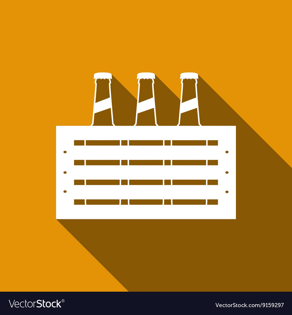 Pack of Beer icon with long shadow
