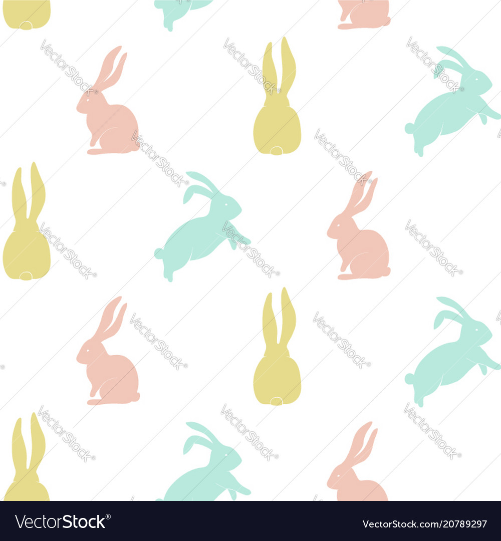 Seamless pattern with cute bunny silhouette