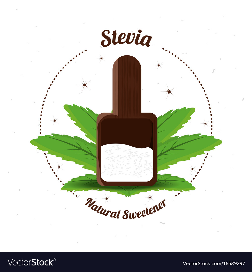Stevia natural sweetener inside spoon