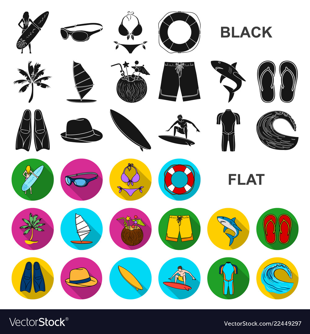 Surfing and extreme flat icons in set collection