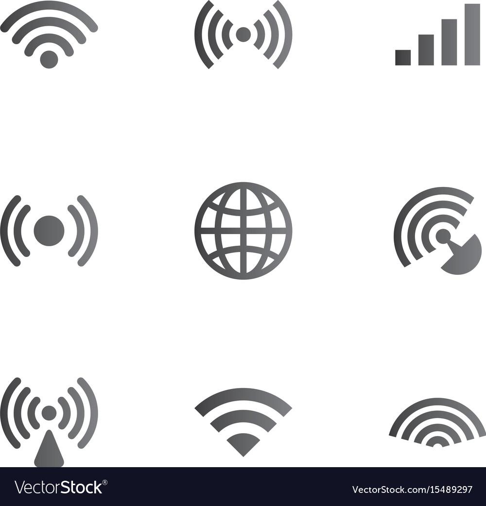 wireless network symbol object set royalty free vector image Wireless Network Connection Symbol wireless network symbol object set vector image