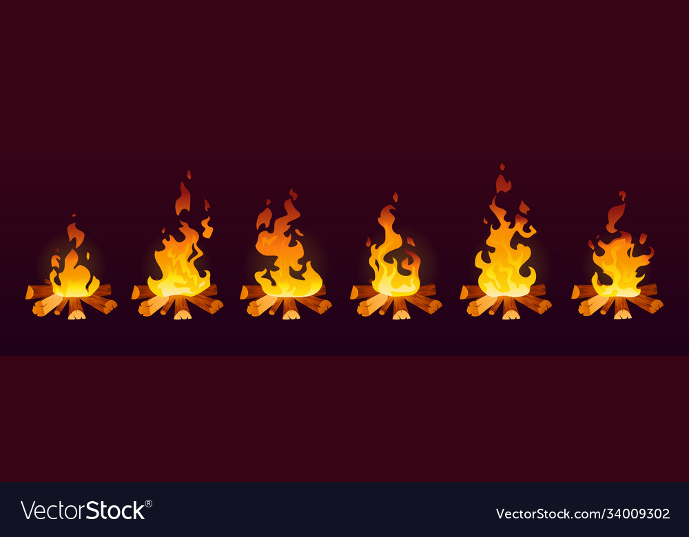 Animation fire burn on wood 2d effect cartoon