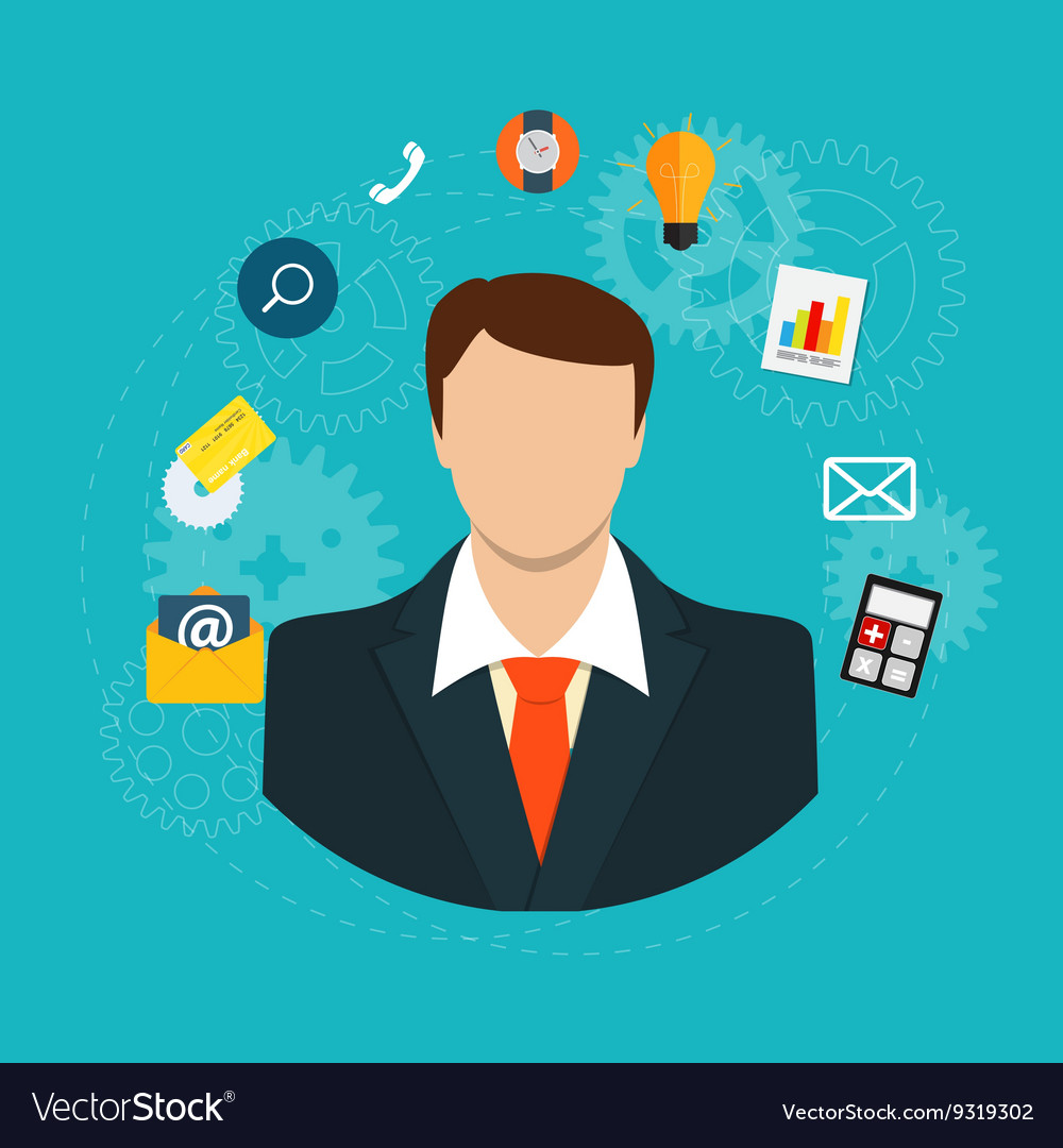 Business Management Concept in Modern Flat Style
