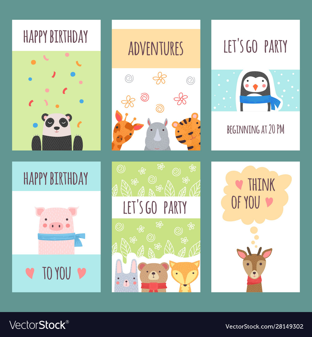 Cute animals cards design templates with baby