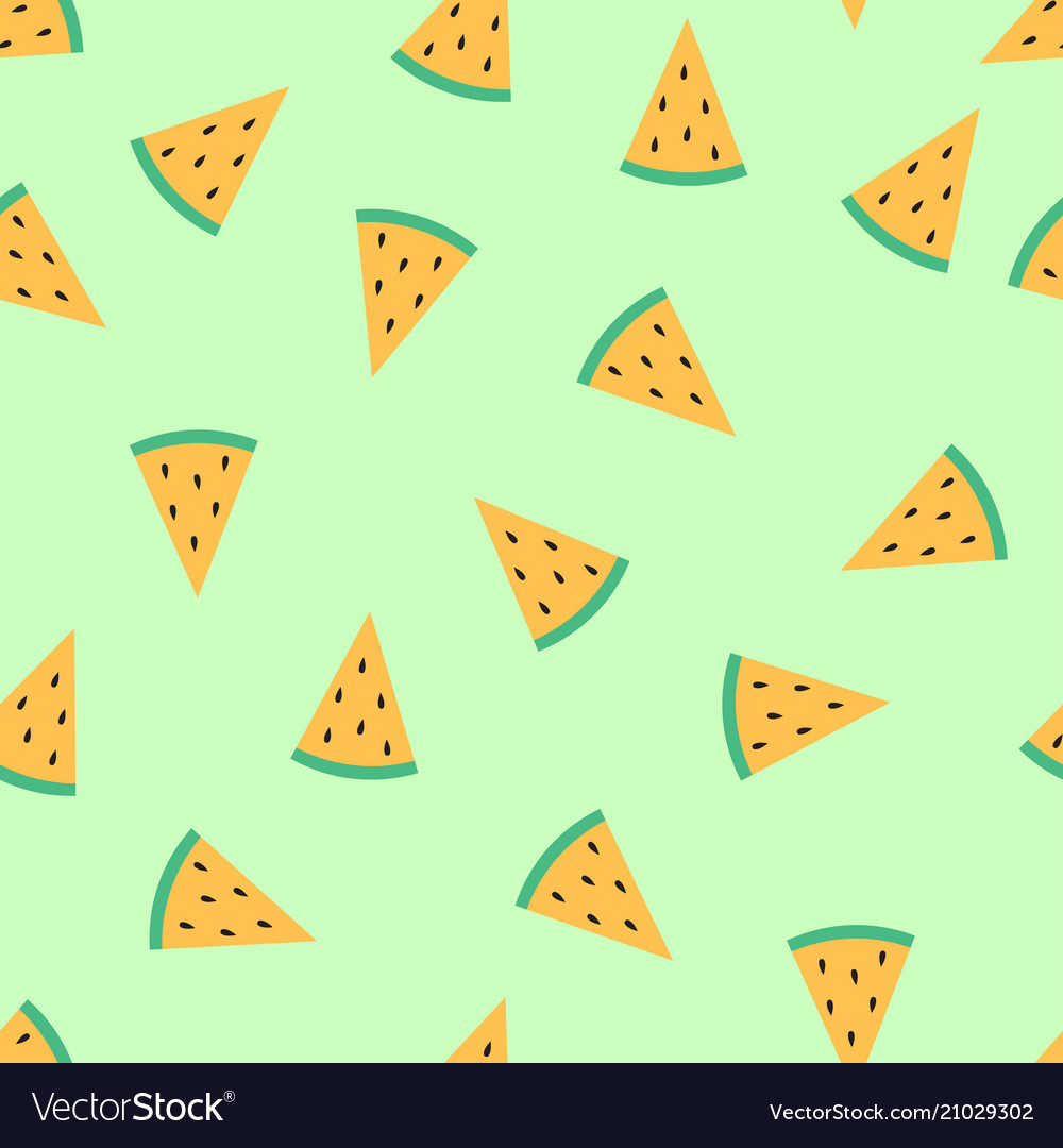 Cute slice melon isolated on green background