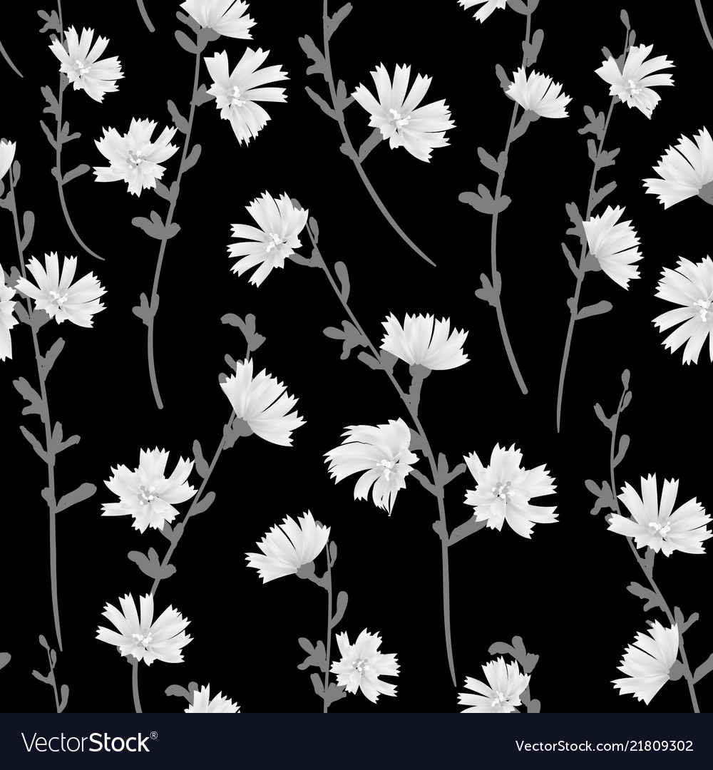 Cute Small Floral Pattern Black And White Vector Image