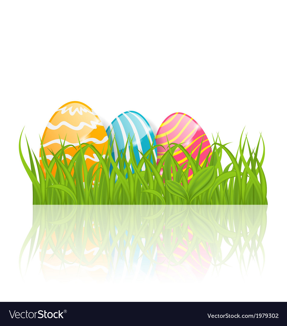 Easter background with paschal ornamental eggs