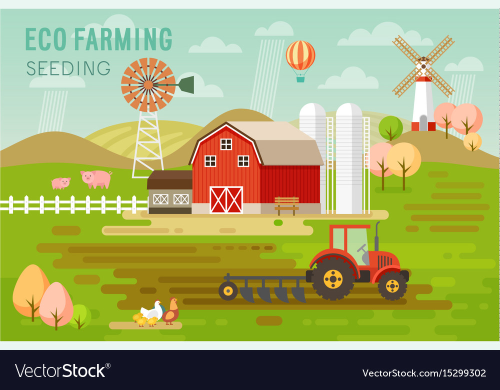 Eco farming concept with house and farm animals vector image