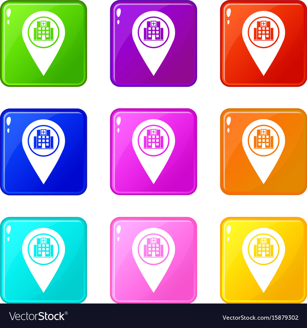 Geo tag with hospital building icons 9 set vector image